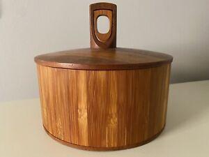 Dansk Designs Rare Woods Cane Teak Ice Bucker JHQ Denmark Quistgaard