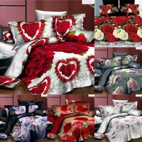 3/4Pcs 3D Printed Red Rose Wedding Bed Sets Flat Sheet Pillowcase Quilt Cover