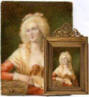 Antique French Miniature Portrait in Fine Dore Bronze Frame - Mme de Montesson