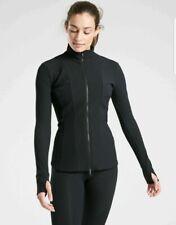 ATHLETA Shanti Ribbed Jacket M MEDIUM Black Soft Breathable Commute Travel