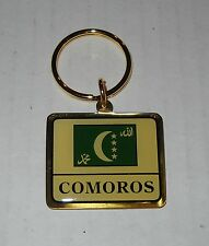 Wholesale Lot Of 10 Comoros Flag Metal Keychain, BRAND NEW