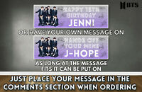 "Personalised KPop BTS Birthday Bangtan Boys Banner 36"" x 11"" Gloss Photo Paper"
