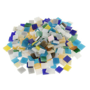 250pcs Colorful Glass Pieces Mosaic Tiles   Square DIY Crafts 10x10mm