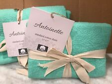 Antoinette - Standard Cotton Quilted Pillow Sham - Sea Green, set of 2