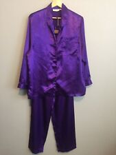 VICTORIA'S SECRET Womens M Purple Satin Sleep Shirt Pants Pajamas Set Top Bottom