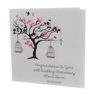 Handmade PERSONALISED Bird Tree WEDDING ANNIVERSARY Card