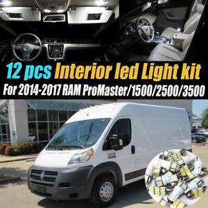12Pc Super White Car Interior LED Light Kit Pack for 2014-2017 RAM ProMaster