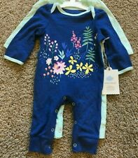 Girls Blue Green Long Sleeve 2pc Cloud Island Romper Set Newborn