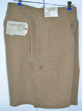Caribbean Silk Shorts Relaxed Textured Cargo Brown Single Pleat Men 38 Ins 9 NWT