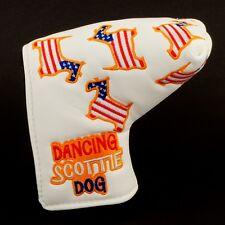 US Flag Dancing Scottie Dog Head Cover Blade Putter Bettinardi Nike Method White
