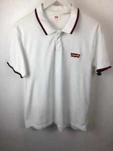 Rare Authentic Levis Levis White Polo Shirt Size Large / Medium Excellent Cond