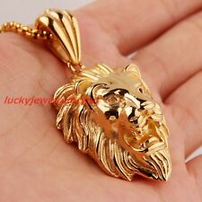 18K Gold Stainless steel Men's Casting Lion King Biker Pendant Necklace Chain