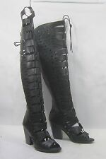"""Black 4""""High Block Heel Open Toe Sexy Summer Gladiator LACE UP Boot Size  11"""