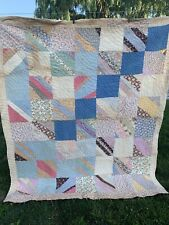 Vintage Hand Quilted Feedsack Fabric String Or Strip Cutter Quilt