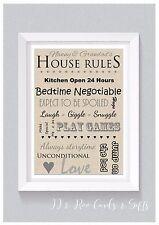 A4 Personalised Print: Nanny & Grandad's House Rules Keepsake Gift (Unframed)