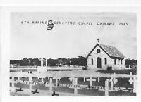 1945 WWII US Okinawa small Photo USMC 6th Marine Cemetery Chapel