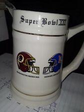Superbowl XXll ceramic cup Washington Redskins-Denver Broncos Souvenir