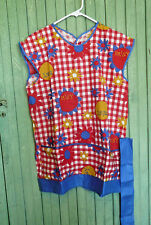 """Fun Cheerful Bright Red & White Gingham Womens Vintage Smock Apron """"DAISY"""" ~ NOS"""