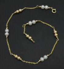 Natural 4mm Pearl Anklet bracelet 9- 10'' New Exquisite 14K Solid Gold 4mm &