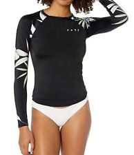 Roxy Women's Swimwear Black Size Large L Rashguard Floral Printed $50 #075