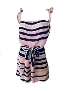 Tiger Mist ' Slay All Day ' Pink Striped Elastic Waist Playsuit Size L