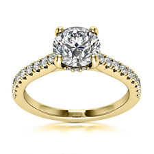 Solitaire Certified 0.65 Carat SI1/H Round Diamond Engagement Ring Yellow Gold