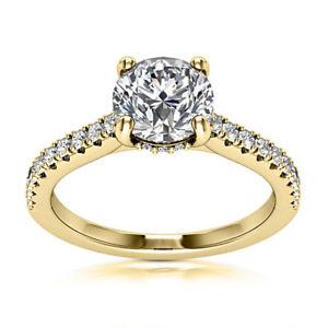 Solitaire 0.75 Carat VS/D Round Diamond Engagement Ring 14k Yellow Gold Enhanced