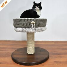 Cat Tree - Basic 1M. Modular Cat Tower. Crocheted Accessories Available.