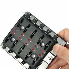 10-Way Car Auto Boat Bus UTV Blade Fuse Box Block Cover 12V w/ LED Indicators