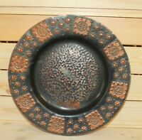 Vintage ornate floral wall hanging copper plate
