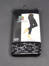 """NWT New Foot Traffic Black Band Of Lace Leggings Footless One Size 5'0"""" To 5'8"""""""