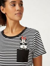 Womens Disney T-shirt Stripe Mickey Mouse Minnie Mouse Ladies UK Size 12 NEW!!