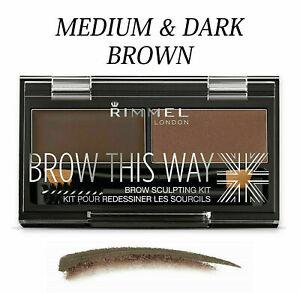 RIMMEL London Brow This Way Eyebrow Powder Sculpting Kit - DARK & MEDIUM BROWN