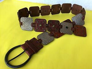 $52 Fossil Concho Belt Brown Tooled Patchwork Leather Western Sz M Boho.Worn 2x