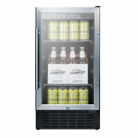 "Summit SCR1841BADA 18"" One Section Beverage Center with Glass Door, 2.7 cu.ft"