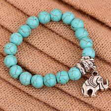 Turquoise Beads Jewelry Tibetan Silver Bangle Elephant Dangle Bracelet gift