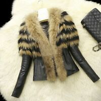 Womens Ladies Coat PU Jacket Winter Thick Fur Jacket Outwear Plus size AU NG2009