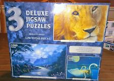 3 Deluxe Jigsaw Puzzles - King Of the Jungle, Pink Flowers, Swan Lake Dreams