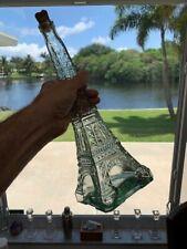 "Glass Eiffel Tower Bottle Wine Olive Oil Decanter Vase Green/Blue 14"" Tall Decor"