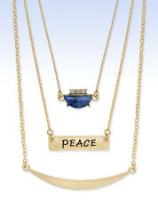 INSPIRED LIFE Gold-Tone Multi-Layer BLUE LAPIS Stone PEACE Pendant Necklace