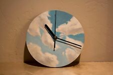 """Hand painted, non-ticking clock, 8"""" d, Puffy white clouds"""