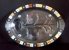 Vintage Black & Gold  Atomic Starburst Oval Meat Serving Platter / Inland Glass