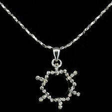 Snowflake Holiday Pendant Necklace Charm Costume Jewelry Crystal Black 18k W GP