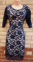 EVIE NAVY BLUE FLORAL LACE PADDED SHOULDER ZIP BACK BODYCON PENCIL PARTY DRESS L