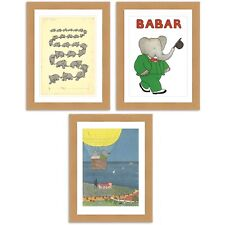 Lovely Babar the Elephant. A Collection of 3 A3 Satin luxury satin Print posters