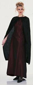 """Vampire Cape - Deluxe Adult - Cloak - Black 45"""" Long Velvet - Adult One Size"""