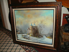 Oil Painting On Canvas By Morotoa-Cottage Castle Winter Scene-Skating-Water-Sign