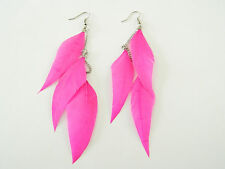 Trendy Drop Feather Pink Earrings 3 Tiers Dangling with Chains E99