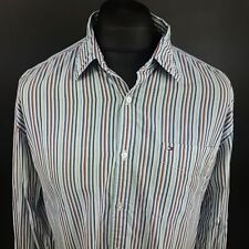 Tommy Hilfiger Mens Vintage 2 Ply Shirt LARGE Long Sleeve Blue Custom Fit