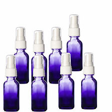 1 oz Purple Shaded Glass Bottles with White Fine Mist Spray Tops. NEW 8 Pack